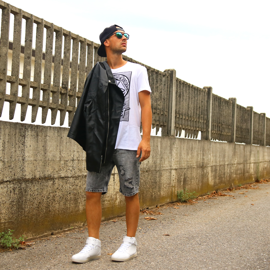 Giacca jeans e pelle uomo